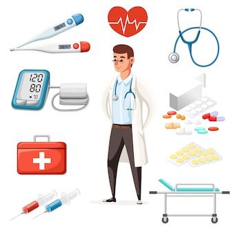 Médico varón con estetoscopio. iconos médicos en el fondo. carácter de estilo. ilustración en la página del sitio web de fondo blanco y la aplicación móvil