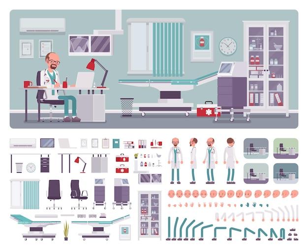 Médico varón en kit de creación de interiores de oficina de médico general