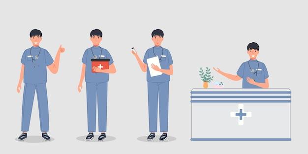 Médico varón en pose diferente grupo de trabajadores profesionales médicos en uniforme sanitario