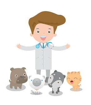 Médico veterinario masculino y mascotas: gato, perro. aislado en la ilustración de fondo blanco