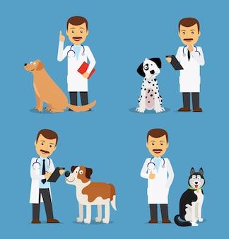 Médico veterinario con perros.