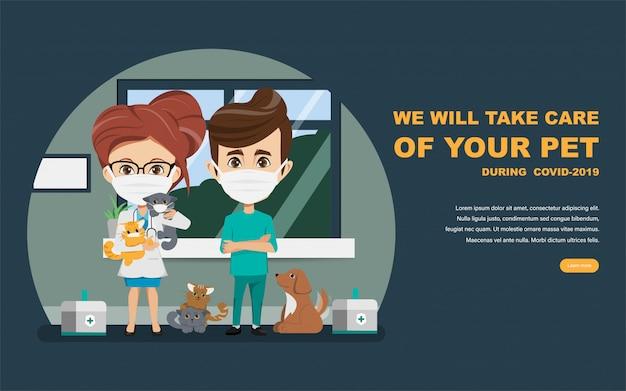 Médico y veterinario que salvan a las mascotas del brote de coronavirus. cuida a los animales en casa durante covid-19.