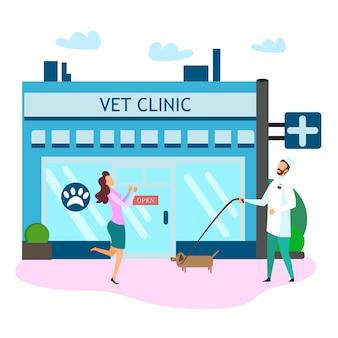 Médico veterinario uniforme con perro feliz propietario