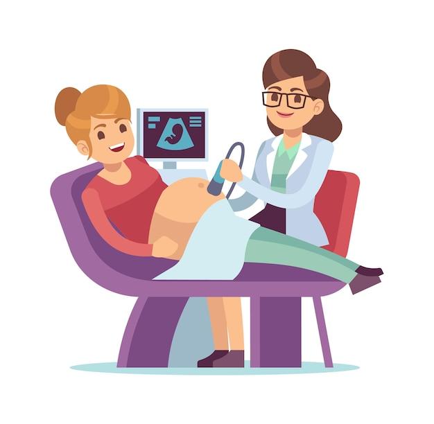 Médico visitante de la mujer embarazada. persona de embarazo de ecografía en el hospital, personas de atención de vectores y concepto de maternidad
