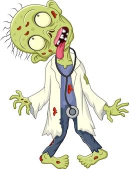 Médico zombie de dibujos animados sobre fondo blanco