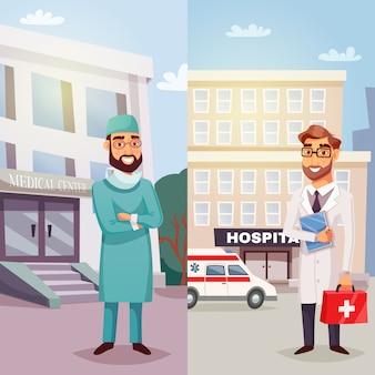 Médicos alegres banners verticales