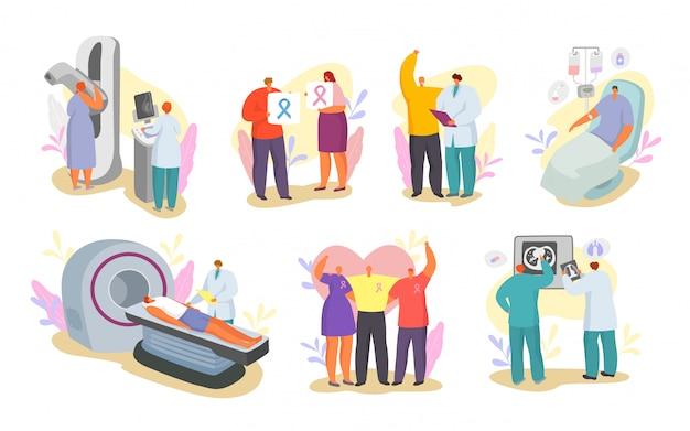 Médicos de cáncer y personas, conjunto de ilustración de pacientes oncológicos aislado.