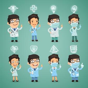 Médicos con conjunto de iconos
