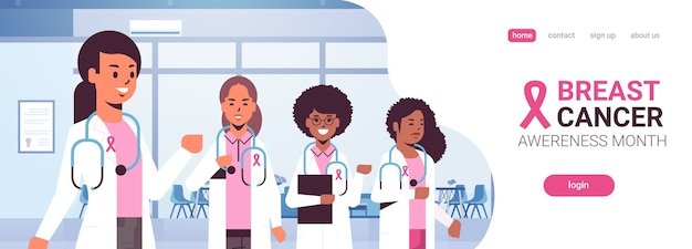 Médicos del día del cáncer de mama que visten abrigos con cinta rosa mezcla raza colegas del hospital equipo de pie juntos concienciación y prevención de enfermedades