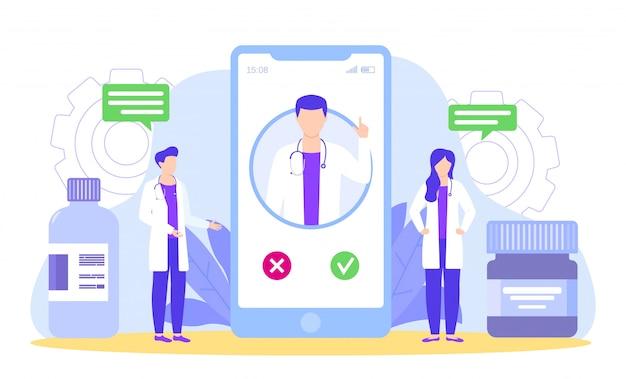 Los médicos discuten con el curador por diagnóstico telefónico e ilustración de tratamiento médico.