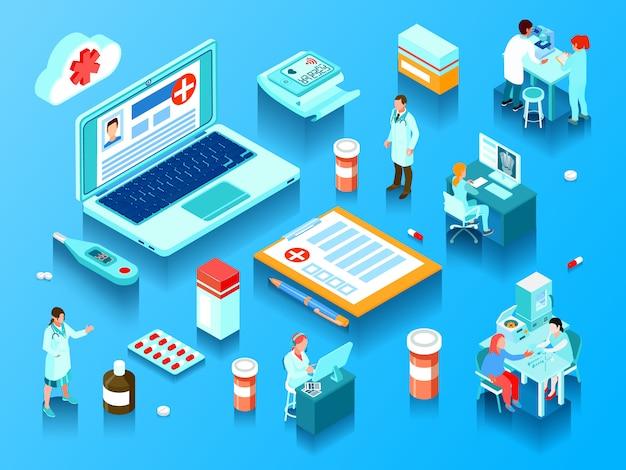 Médicos de elementos de medicina en línea con computadoras y equipos de laboratorio, píldoras y dispositivos electrónicos ilustración vectorial isométrica horizontal