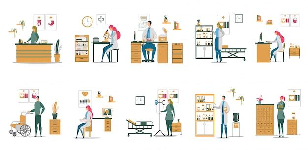 Médicos enfermera en diferentes situaciones en el conjunto de la clínica