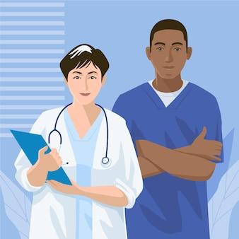 Médicos y enfermeras detallados ilustrados