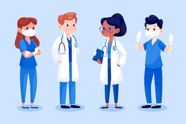 Médicos y enfermeras de dibujos animados