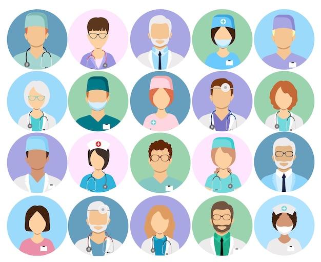 Médicos y enfermeras iconos vectoriales de perfil cirujano y terapeuta oculista y nutricionista avatares