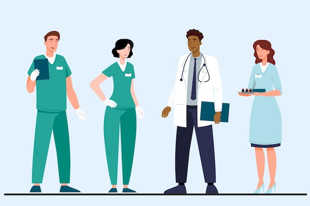 Médicos y enfermeras planas orgánicas con estetoscopio.