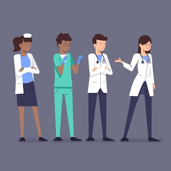 Médicos y enfermeras planas orgánicas.
