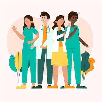Médicos y enfermeras planos orgánicos ilustrados.