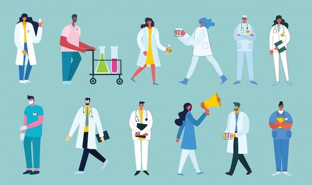 Médicos del equipo sobre un fondo azul. ilustración de vector de estilo plano