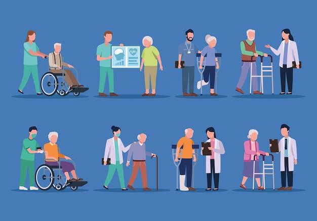 Médicos geriátricos y ancianos