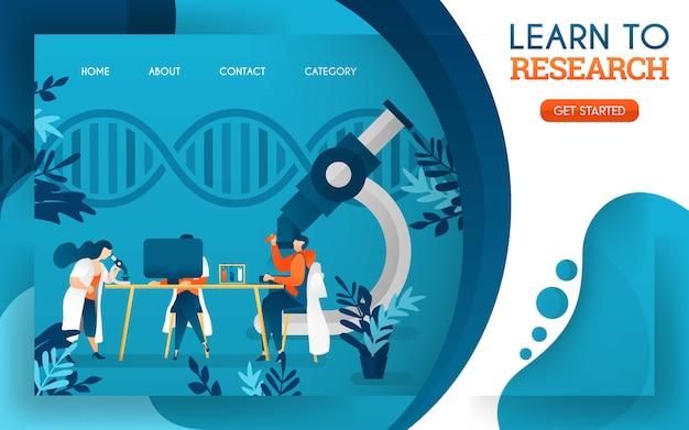 Médicos jóvenes están estudiando investigación con la ayuda de computadoras y microscopios.