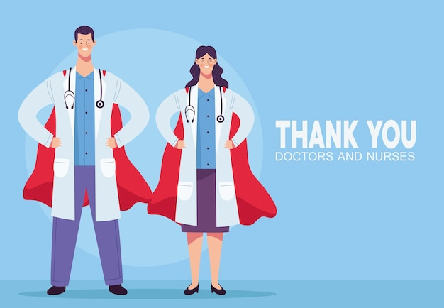 Los médicos se juntan con estetoscopios y capas de héroes ilustración