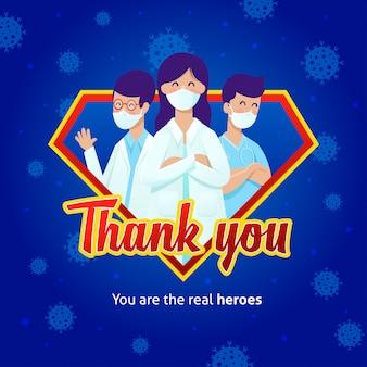Médicos con máscaras en un logotipo de superhéroe con un mensaje de agradecimiento por su lucha contra covid-19.
