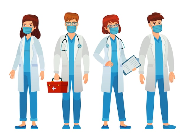 Médicos en mascarilla, personal médico mujer y hombre. especialista en epidemias, asistencia sanitaria de apoyo, profesional hospitalario en máscara protectora.