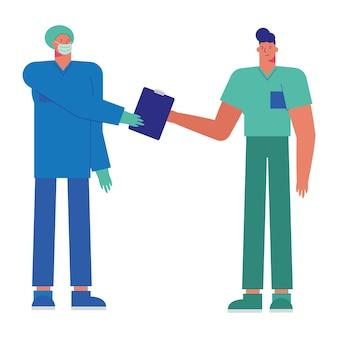 Médicos masculinos profesionales con ilustración de máscaras médicas