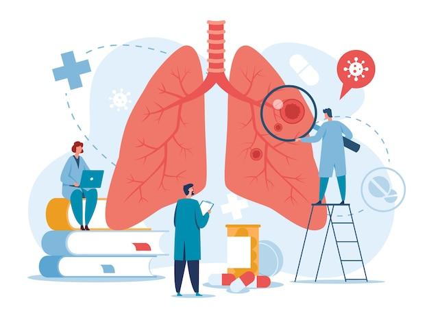Los médicos de neumología examinan los pulmones, la tuberculosis, la neumonía, el tratamiento del cáncer, el concepto de diagnóstico