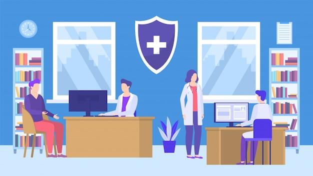 Médicos y pacientes en la clínica médica, la oficina del hospital o la farmacia dentro de la ilustración del vector.