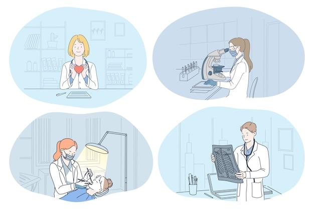 Médicos de personas con imagen de rayos x de la columna vertebral