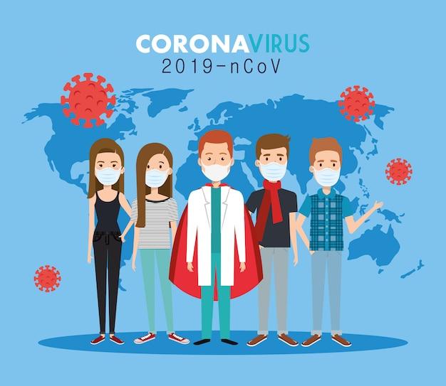 Médicos y personas y pandemia mundial de covid19
