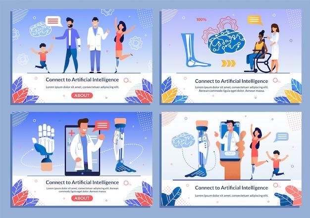 Médicos que consultan a los pacientes discapacitados banner set
