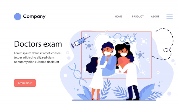 Médicos que examinan la información de cuarentena. plantilla de sitio web o página de destino