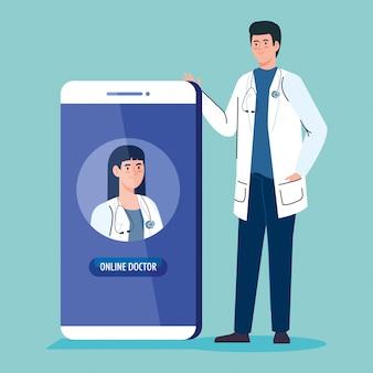 Médicos y teléfonos inteligentes con aplicación de medicina en línea