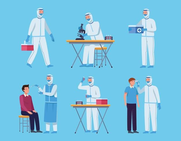 Médicos en traje de protección y colección de personas.