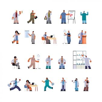 Los médicos uniformados en diferentes clínicas de los trabajadores del hospital establecen la medicina concepto de salud plana de longitud completa