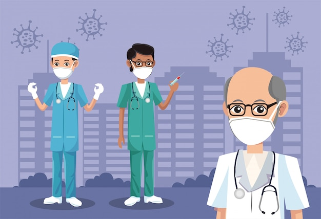 Médicos varones con máscaras médicas