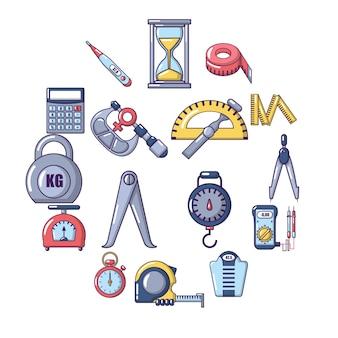Medida precisión conjunto de iconos, estilo de dibujos animados