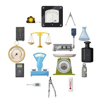 Medida de precisión conjunto de iconos de herramientas, estilo de dibujos animados
