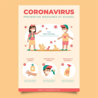 Medidas preventivas en la plantilla de póster escolar.
