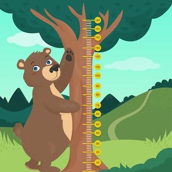 Medidor de altura de dibujos animados lindo ilustrado