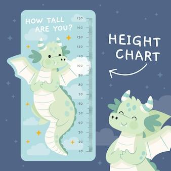 Medidor de altura de dibujos animados para niños.
