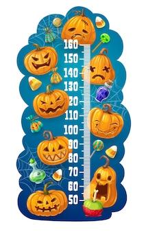 Medidor de altura para niños con linternas de halloween jack o