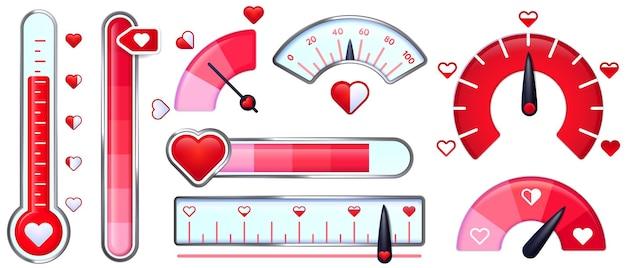 Medidor de amor. tarjeta del día de san valentín, indicador de amor con corazones rojos y termómetro de amor.