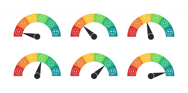 Medidor de calificación de humor en estilo plano. velocímetros con revisión de clientes. medidor de satisfacción del cliente. ilustración.