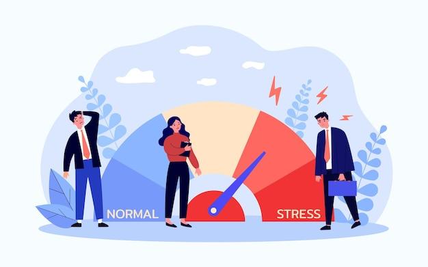 Medidor de estrés que mide el nivel de agotamiento de los empleados. pequeños empresarios cansados en la ilustración de vector plano de crisis. concepto de sobrecarga de emociones estresantes para banner, diseño de sitio web o página de destino