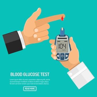 Medidor de glucosa en sangre en la mano