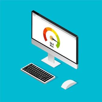 Medidor de puntaje de crédito. diseño isométrico de computadora con prueba de velocidad en una pantalla. aislado.